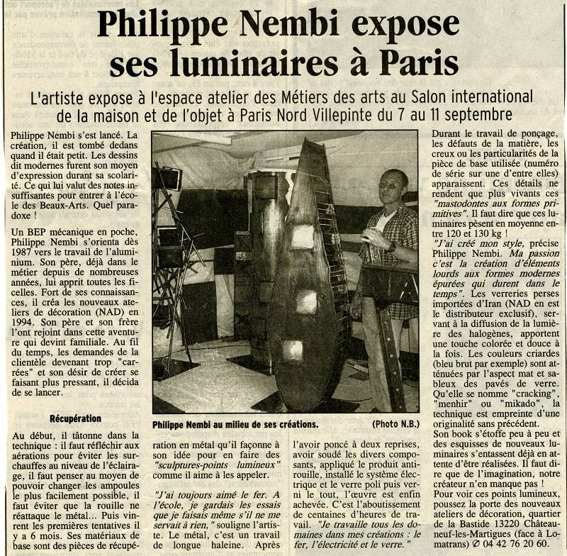 Article dans le journal LA PROVENCE en septembre 2001
